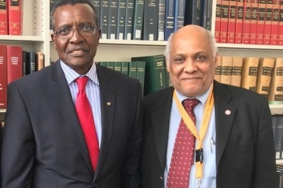 Prof. Issa Baluch with Chief Justice & President of the Supreme Court of Kenya David Kenani Maraga at Harvard Law School, during March 2018 Harvard Africa Development Conference